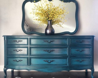 Sold ~ French Provincial 9 Dresser and Mirror Set - Peacock Blue
