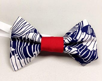 Keyboard bow tie red white and blue