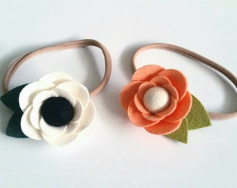 Felt Flower Headband, Felt Flower Hair Clip, Simple Anemone, CUSTOM COLORS or Maker's Choice
