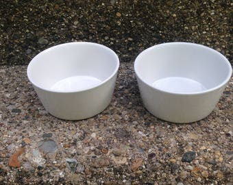 White Porcelin Pet Dishes - Dog or Cat Food Dishes