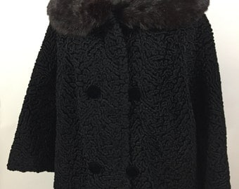 Vintage Persian Black Curly Lamb Black Mink Fur Collar Short Jacket