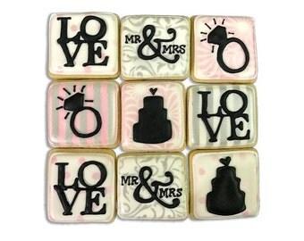 Mini Engagement Cookies / Wedding Cookies / Bridal Shower Cookies - 2 Dozen