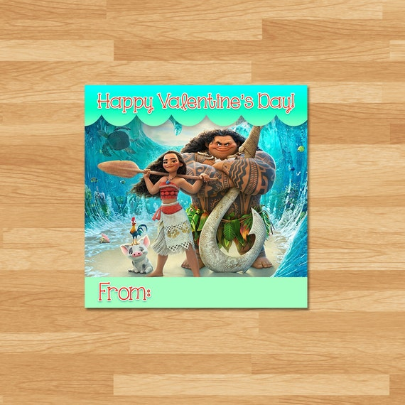 Moana Valentine's Day Cards - All Characters - Moana Valentines - Moana School Valentines Day - Moana Party Printables - Moana Party Favors