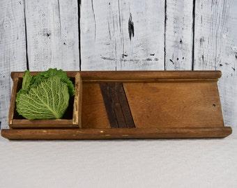 Vintage wooden shredder cabbage / Slicer vegetable cutter / Antique shredder saurkraut / Slicer cabbage shredder / Rustic vegetable grater