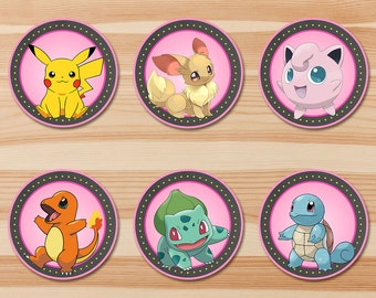 Pokemon  Cupcake Toppers - Pink Chalkboard - Girl Pokemon Pikachu Toppers - Pokemon Party - Pokemon Sticker Printables - Evee - Set A
