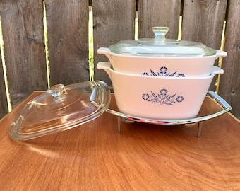 Vintage Casserole Dishes, Blue Cornflower Design, Corningware Casserole Dishes, Corningware, Metal Tray Holder, Serving Dishes