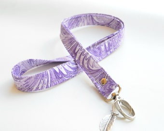 lanyard ID Badge holder key ring. Purple, mauve, lilac marbling effect. Keyring leaf detail. Lobster clasp. gift