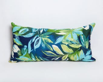 Outdoor Bolster Pillows, Blue Green, Outdoor Pillows, Leaf, Leaves, Pillow, Indoor Outdoor, Patio Decor, Home Decor, Deck Pillow, Bolster