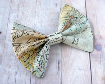 World Map Bow // Antique, Countries, Vintage, Explorer, Adventure, Novelty, History