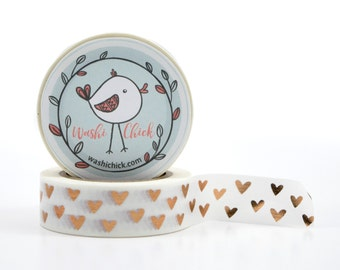 Rose Gold Hearts Washi Tape - copper, foil