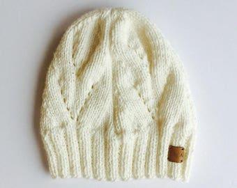 Hand Knit Beanie // Handmade Winter Hat // Knitted Beanie Cap