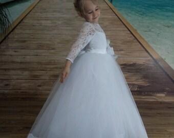Flower girl dress, flower girl dresses, vintage flower girl dress, Junior bridesmaid dress, tulle flower girl