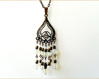 Oriental necklace Opal genuine metal bronze