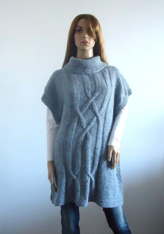 Gray tunic poncho Wool Loose fit gray beige sweater Ready to ship Women tunic Hand knitted Women's Clothing knitted jumper 100% hand made