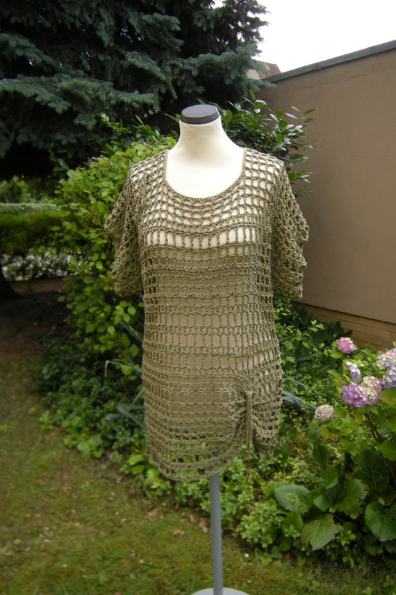 Longsleeve shirt dress crochet tunic khaki, size 36-40