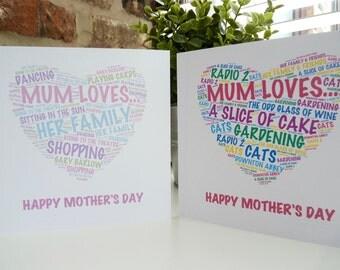 Personalised Mum Loves..  card, Personalised Birthday Card for Mum, Personalised Birthday Card, Mum Loves .. Card