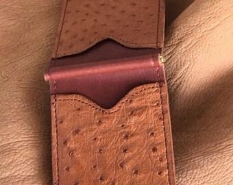 Genuine Ostrich Money Clip Wallet Cognac