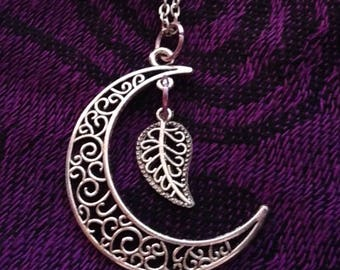 Silver Moon Pendant with Leaf
