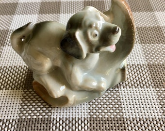 Vintage Puppy Dog with Boot Figurine