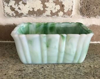 Vintage Green Slag Akro Planter Dish
