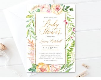 Floral Baby Shower Invitation Template | Faux Gold | Watercolor | Printable Baby Shower Invite | Editable | Instant Download | PDF #036BS