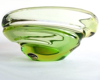 Vintage Large Coyne's Green Art Glass Bowl, Hand-Blown in Czechoslovakia