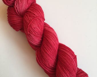 Cherry Semi-Solid Hand Dyed Sock Yarn 100g DYED TO ORDER
