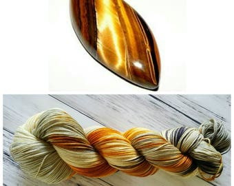Hand Dyed Yarn, Merino and Nylon Fingering Weight Variegated Sock Yarn Perfect for Socks, Shawls and Lightweight Accessories - Tiger's Eye