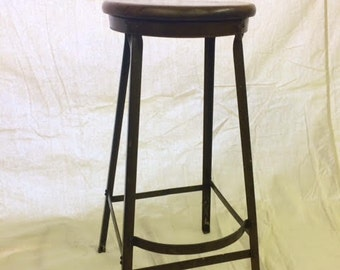 Vintage Industrial Shop Stool Angle Steel Factory Machinist Drafting Chair