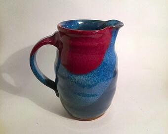 pottery pitcher, blue pottery, ceramic pitcher, sarah gamble pottery, mother's day,red vase stoneware pottery blue pitcher pottery handmade