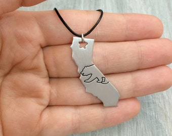 California bear necklace, California bear Sterling silver necklace, California state necklace, California state silver necklaces, California