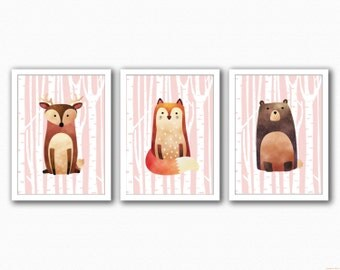 Woodland Animals Set 3 Prints - Full Animal - (Fox/Deer/Bear)
