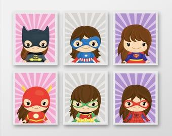 Set 6 Superhero Girl Prints - Mix And Match