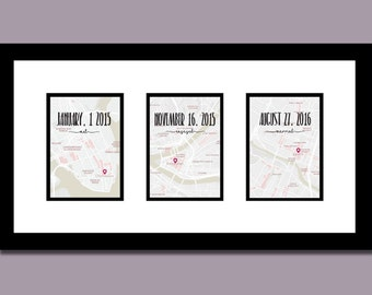 Met, Engaged, Married Triptych | Dates & Map | Valentines Day and Wedding Gift