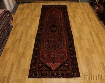50 Years Old Long Tribal Hamedan Runner Persian Oriental Area Rug Carpet 4X13