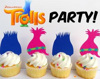 Trolls Party, Trolls, Trolls Decorations, Trolls Birthday Party, Trolls decor, Trolls cupcake toppers, trolls toppers, poppy and branch