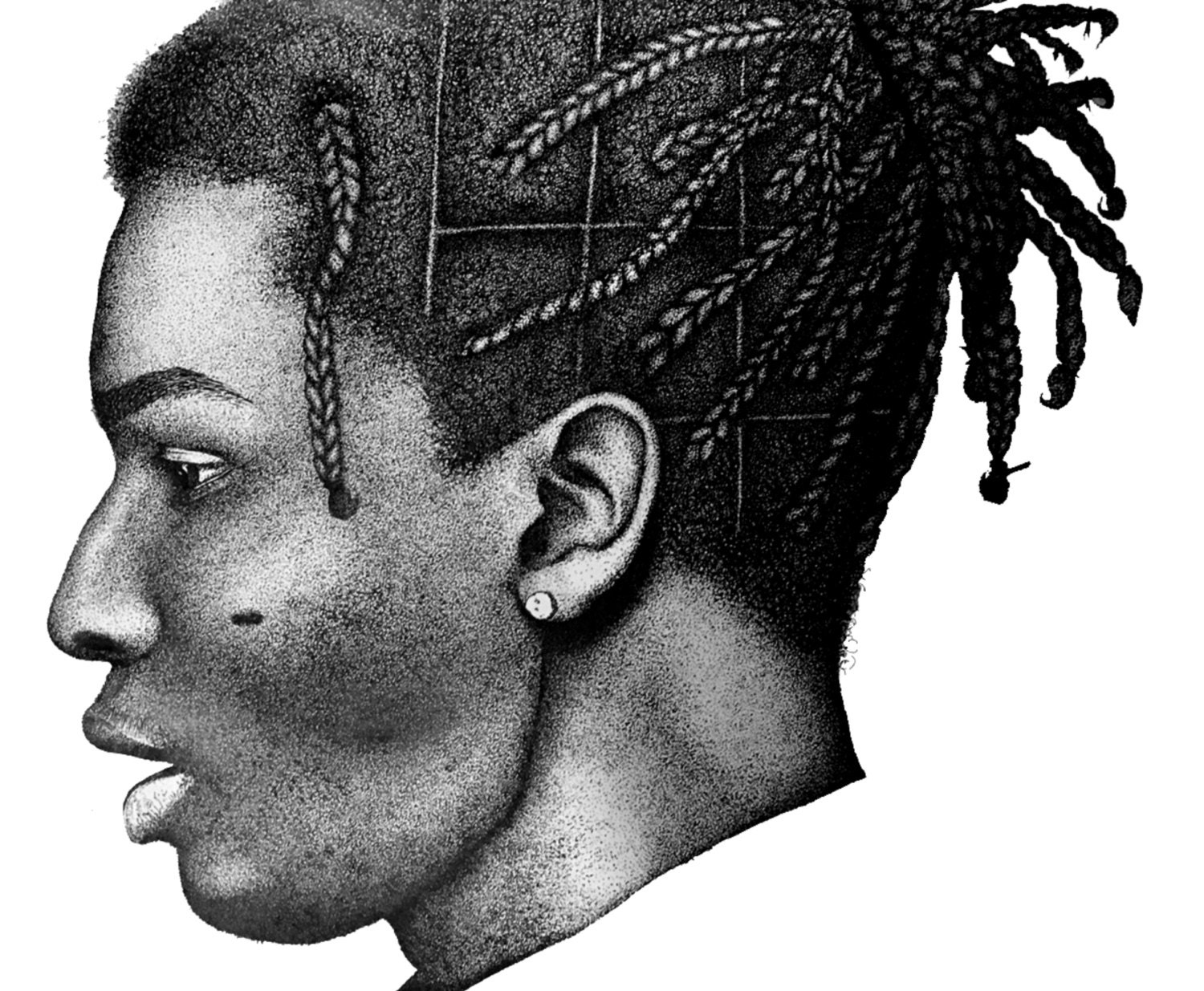 asap rocky pen and ink stipple drawing