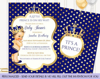 Little Prince Royal Blue & Gold Crown Jewels | Caucasian Vintage Baby | Personalized Digital Invitation