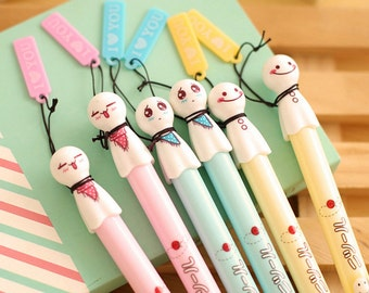 teru teru bozu pen, Kawaii Stationary, gel pens,  Cartoon pen, Cute Pens, sign pen, gel ink pen, Planner Pen, Black Gel Pens, Kawaii pens