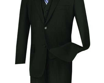 Classic-fit men's suit 3 piece suit 2 bottons solid black suits new with tag