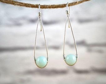 Amazonite Earrings, Wire Gemstone Earrings, Silver Gemstone Earrings, Elegant Gemstone Earrings, Amazonite Jewelry, Gemstone Earrings
