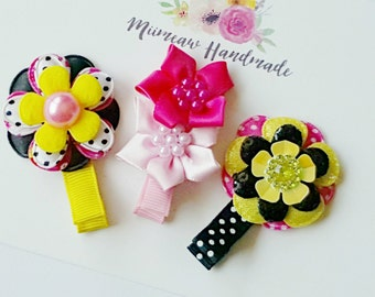 Baby Hair Clips, Infant Hair Clips ,Toddler Hair Clips , Girls Hair Clips, Hair Clip Set , Black - Yellow- Red and Pink Hair Clip Set