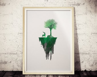Minimalist Nature Print, Green and Black Watercolor Print, Nature Print, Modern Apartment Wall Art Print, Geometric Art, Minimal Deer Decor