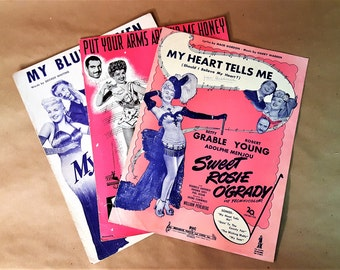 Vintage Sheet Music Betty Grable Robert Young George Montgomery Dan Daily Music from Early 40s Movies Pin Up Girl Colorful