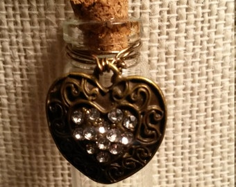 Hearts and Pearls Necklace/Antique Brass Rhinestone Heart/Small Bottle of Pearls/Debra's Design Studio/One of a Kind