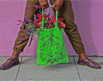 Green Canvas Hex the Patriarchy Tote bag