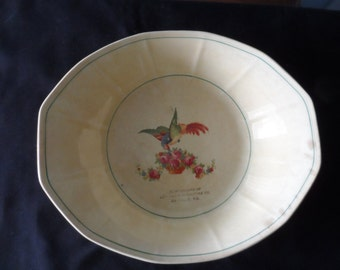 LAST CALL collector vintage advertising Vintage Piece Retail Advertising Serving Bowl Parrot Roses Lea-Lewis Furniture Co Danville Va    984