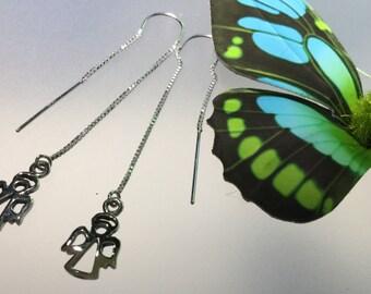 Angel earring/Sterling threaders/Threader earring/silver threader earrings/silver angels/dangle/drop/Angels/Sterling threaders/spiritual