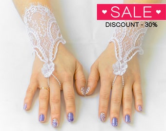 Fingerless gloves, white wedding gloves, bridal gloves, evening gloves, prom gloves 05