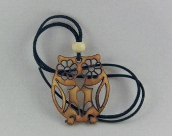 Owl necklace, wooden jewelry, laser cutted jewelry, owl necklace
